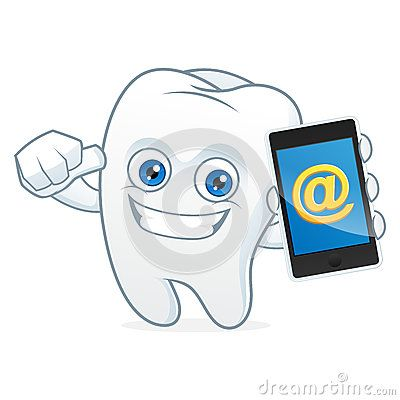 Tooth cartoon mascot hold, phone