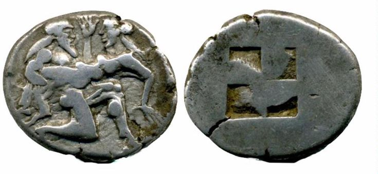 Thasos 500-463 BC.  Silver stater.  Satyr advancing right, carrying off protesting nymph.