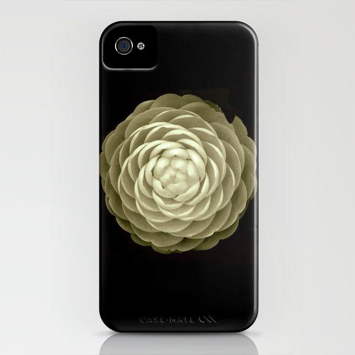 cream camelia on black background iPhone & iPod Case
