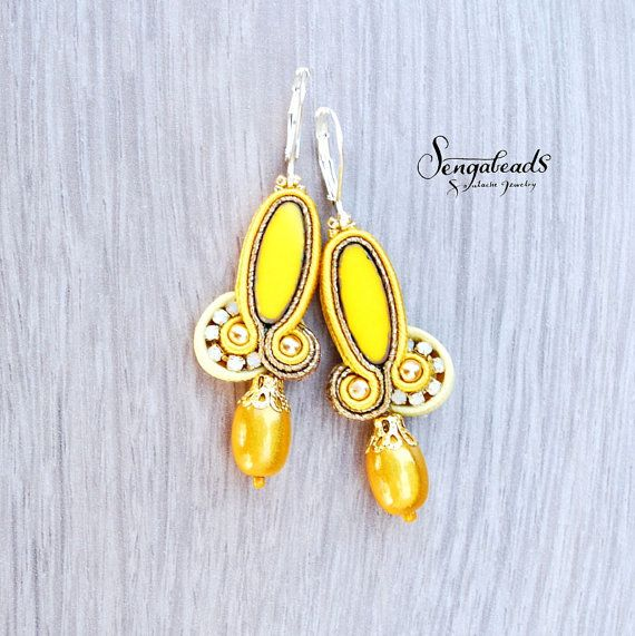 Small soutache earrings with sterling silver earring hooks. Soutache jewelry. Soutache earrings. Small earrings. Gift for her.Yellow earring