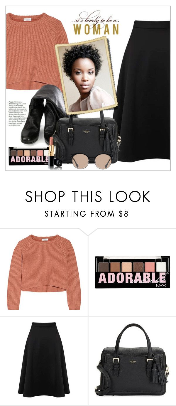 """""""Black Scuba Midi Skirt - View All - Sale & Offers - Miss Selfridge US - BP"""" by biange ❤ liked on Polyvore featuring Brunello Cucinelli, Prada, Charlotte Russe, Miss Selfridge, Kate Spade and Balenciaga"""