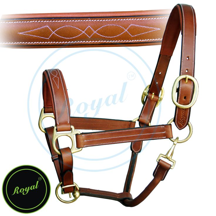 Royal Triple White Stitched Fancy Padded Halter. Regular price $78 Sale price $58 (Conker/ Brass Buckles)