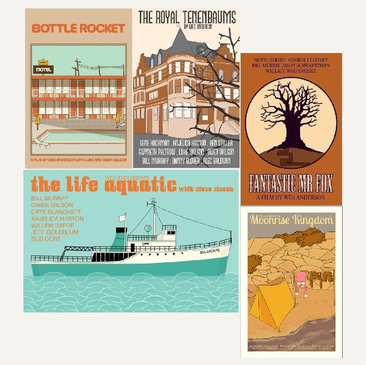 Movie posters Wes Anderson Collection by Claudia Varosio