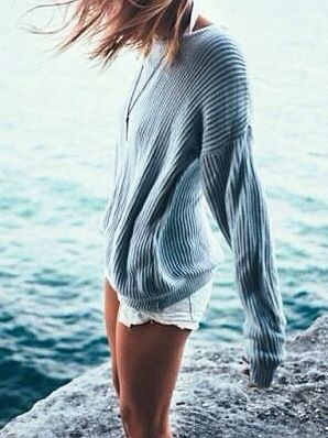 Chunky grey knit jumper with white denim shorts