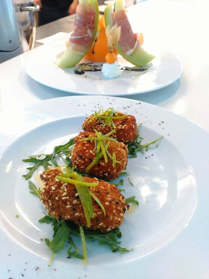 Salmon bourekaki & Melon with prosciutto. Santorini Weddings, Wedding venue, Wedding ceremony and reception, Sunset view, wedding menu.
