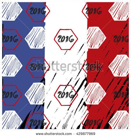 Pattern for football championship. A soccer ball pattern and a France flag. France euro football championship 2016
