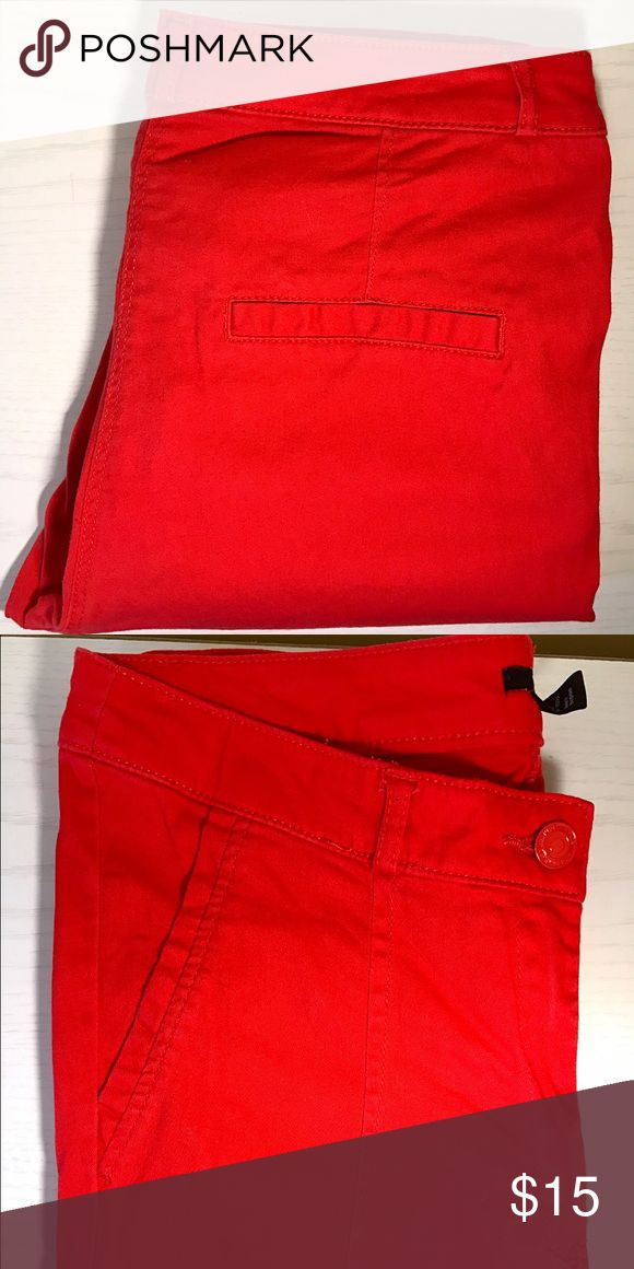 Red Skinny Pants Bright red skinny pants from H&M. Fake pockets, darts along front. Cotton blend. Cover photos show cute styling choices for these comfy pants! H&M Pants Skinny