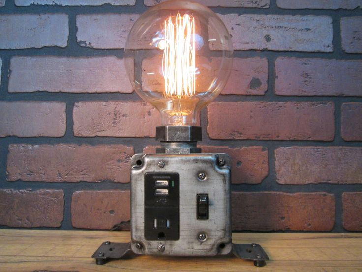 Industrial Charging Station USB Port Desk Lamp Cell Phone Tablet Laptop Charging Station Large Globe Edison Bulb Great Gift for Men by VintageIronworks on Etsy https://www.etsy.com/listing/219071101/industrial-charging-station-usb-port