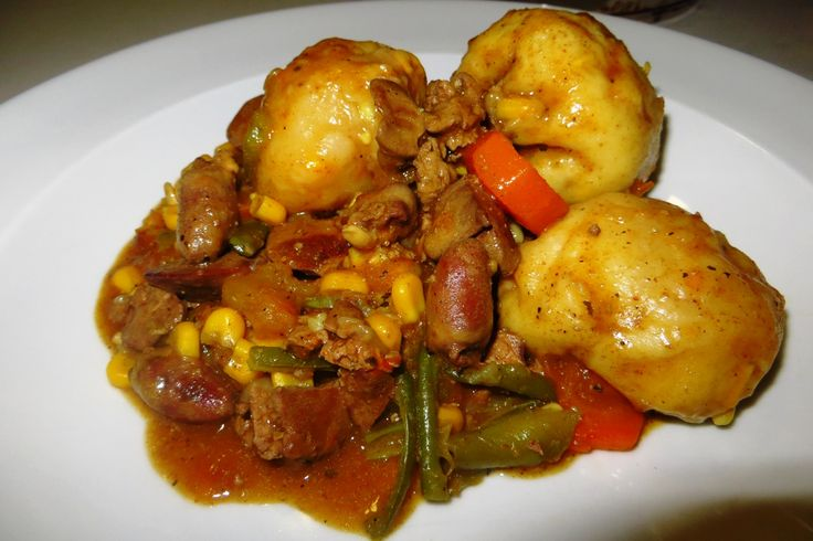 I am a HUGE fan of madombi or dumplings which are part of the local cuisine here in Botswana. I've only ever had the big ones but some time back, I found a recipe for sweetcorn dumplings with chick...