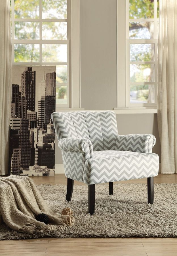 Langdale Grey Chevron Fabric Dark Cherry Wood Legs Accent Chair