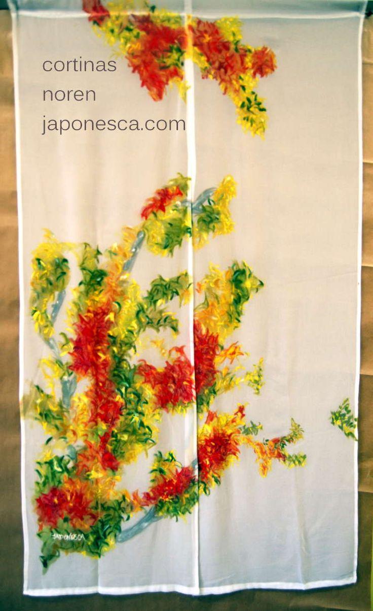 Cortinas japonesas noren: Arce en otoño pintado amano por Japonesca