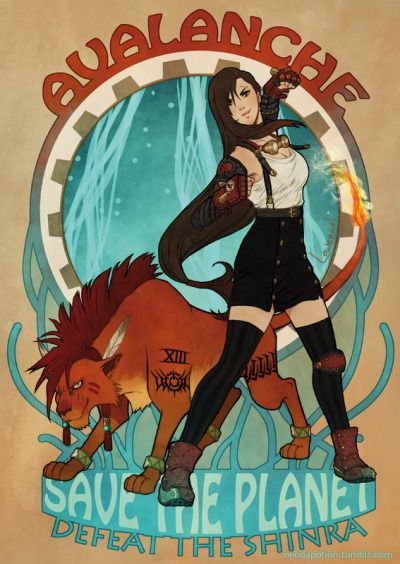 Final Fantasy's characters inspired by steampunk and art nouveau style :)  - FFVII Vincent, Aerith, Tifa and Red XIII  - FFXIII Lightning's Returns  - FFX Lulu