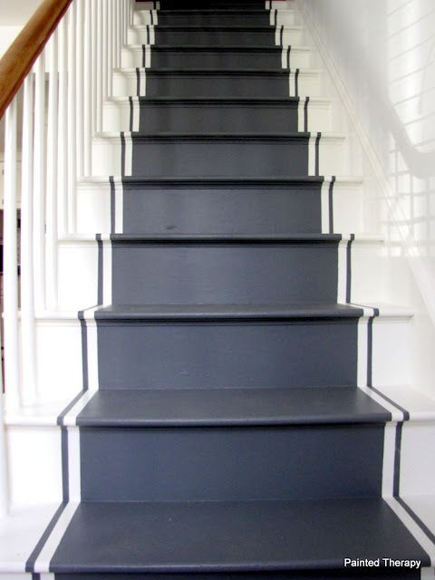 Simple paint design idea for basement stairs. (From Painted Therapy: Painting Your Stairs)