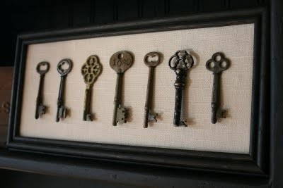 A framed collection of cool old keys