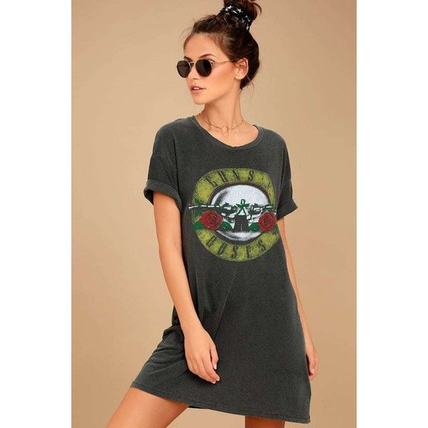 Daydreamer Guns N' Roses Washed Charcoal Grey T-Shirt Dress ($68) ❤ liked on Polyvore featuring dresses, grey, short sleeve dress, charcoal gray dress, rose dress, tee shirt dress and tee dress