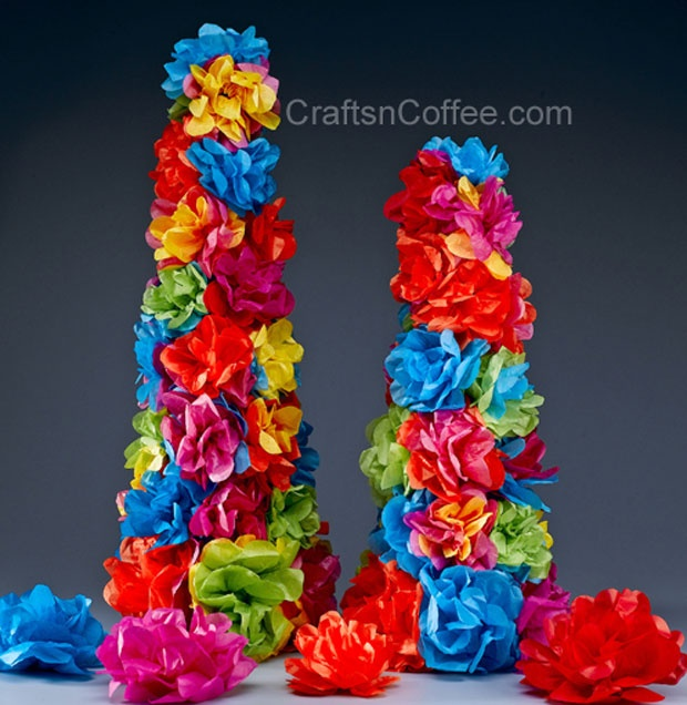 Tissue Paper Rose Topiaries, use fiesta flowers, pinata and cascarones