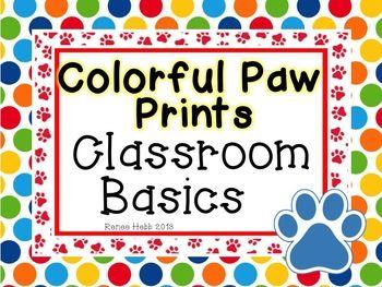 Colorful Paw Prints Classroom Printables