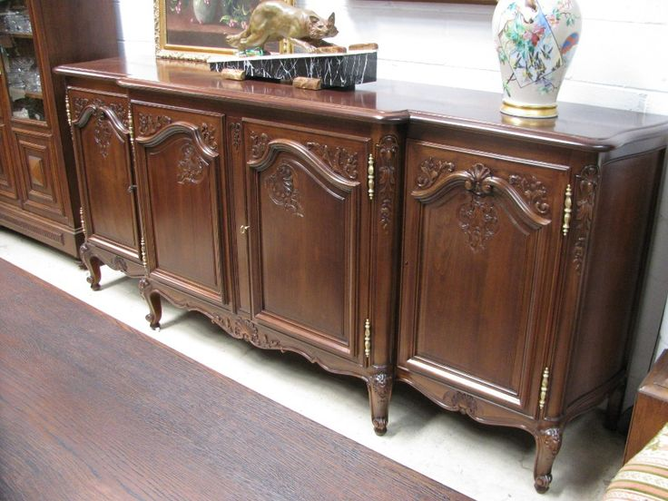 Louis XVth Style French Walnut Sideboard w/ Marquetry top.