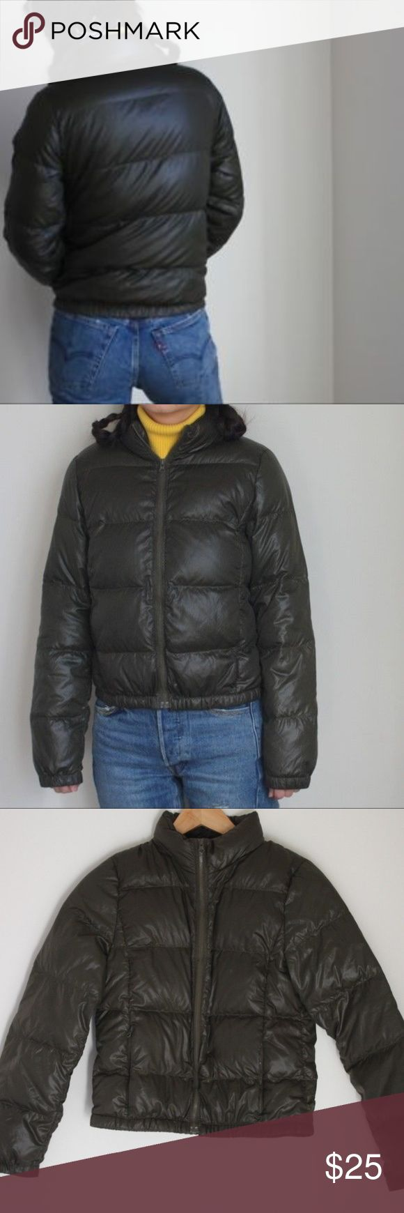 J. Crew Down Puffer Jacket Army Green Small Details:  •Small collapsable Nylon hood that zips into collar •Warm puffer jacket in good condition, great for fall or layered with a sweater for winter.  Materials:   •Lining: 100% Nylon •Fill: Minimum of 80% Down •Remainder: Waterfowl Feathers  Condition:  •Good used condition J. Crew Jackets & Coats Puffers