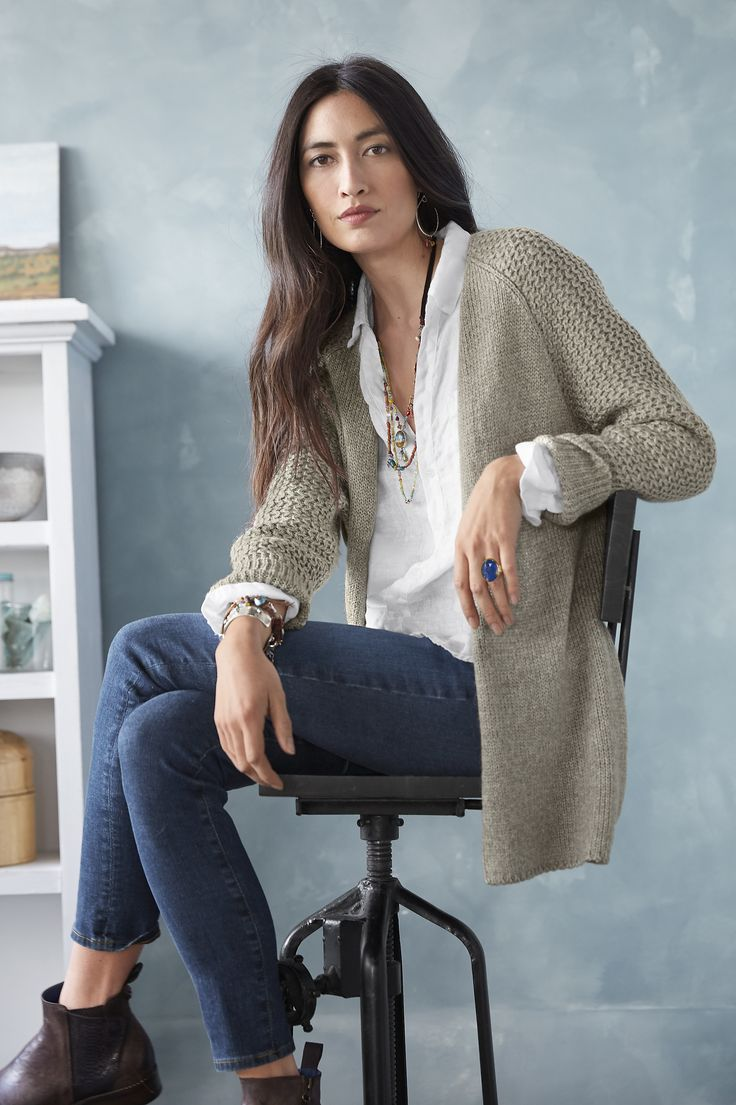 Carlisle Cardigan - Our open-front cardigan, long and soft in a cool combo of jersey and lattice stitches, sans fastenings.