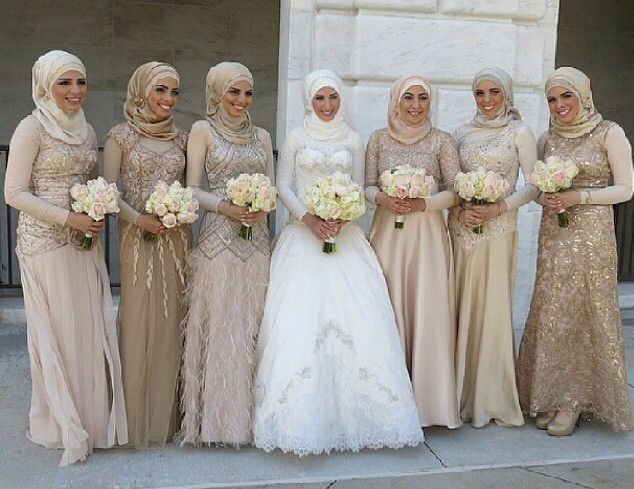 Pinned via Nuriyah O. Martinez | Hijab , wedding dress , modest , muslim pride , bridesmaids
