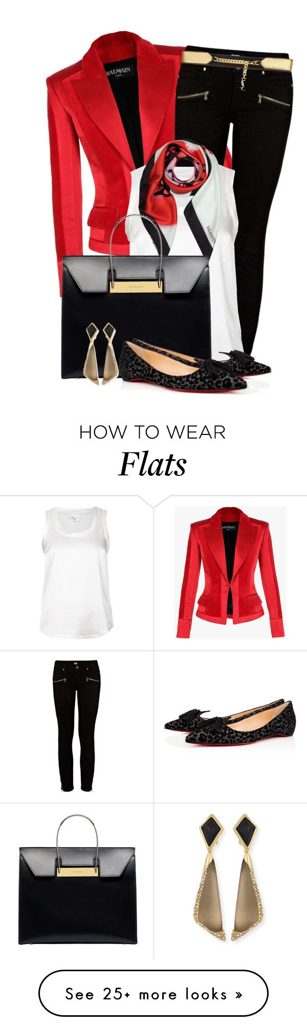 """Untitled #83"" by valentina-a-bb on Polyvore featuring Balmain, Paige Denim, Brunello Cucinelli, Valentino, Balenciaga, Yves Saint Laurent, Christian Louboutin and Alexis Bittar"