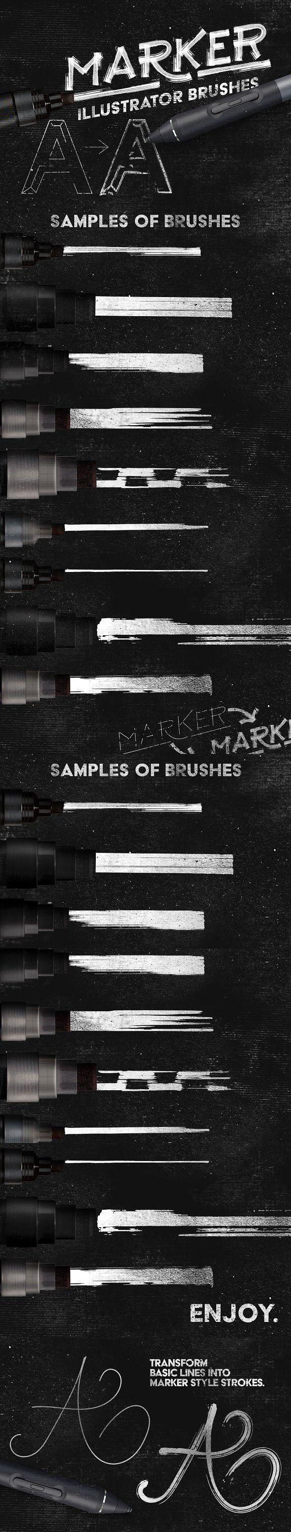 Marker Illustrator Brushes. Photoshop Brushes. $8.00