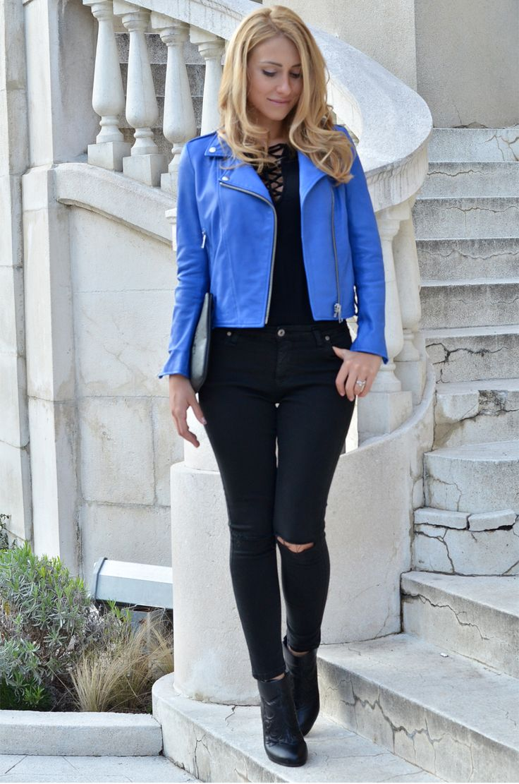 The 25  best Blue leather jackets ideas on Pinterest | Blue ...