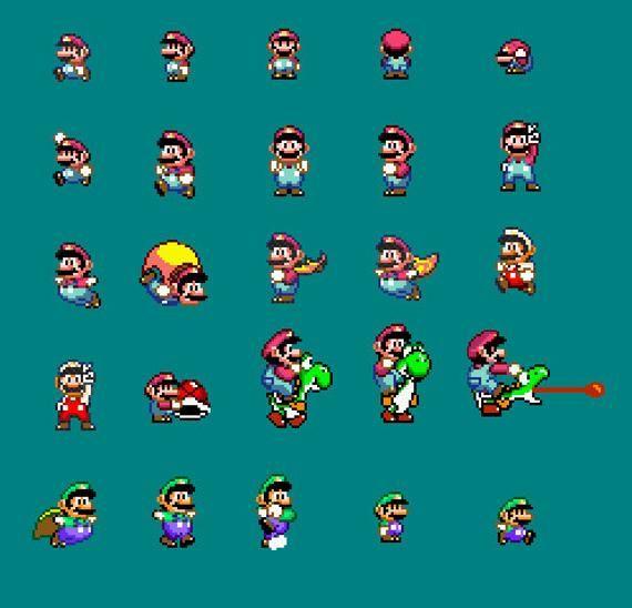 25 Super Mario World Mario And Luigi Sprite Patterns Etsy In 2021 Super Mario World Super Mario Mario Coloring Pages