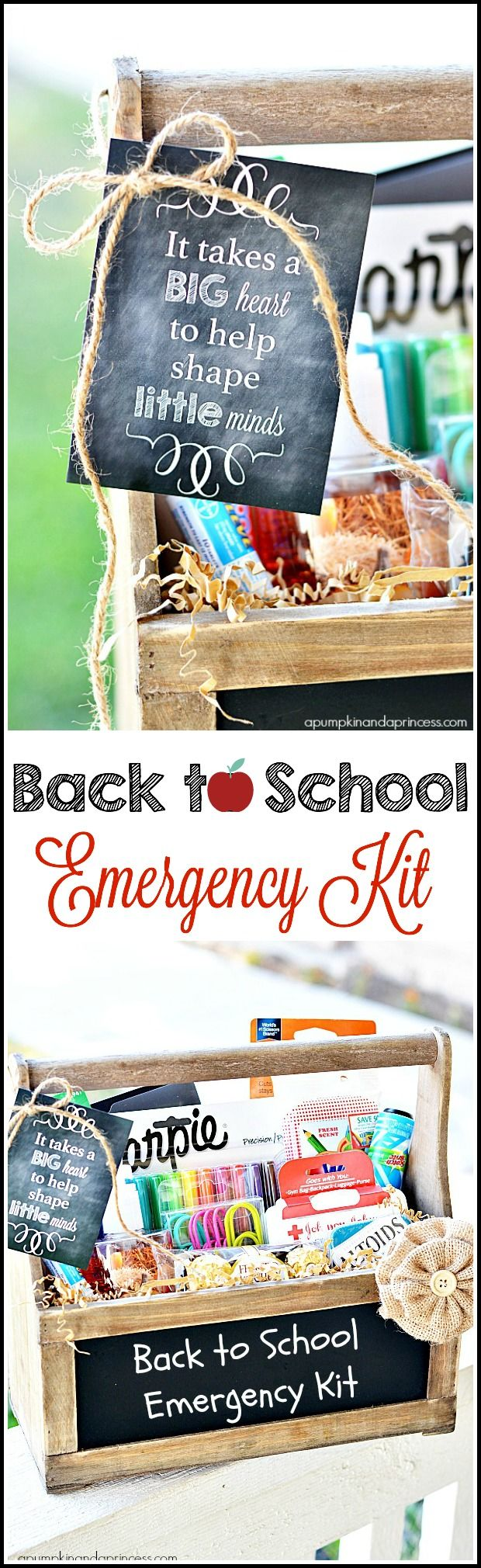 Send your kids back to the classroom this year with an extra something special for their teachers. This back-to-school emergency kit idea from A Pumpkin and a Princess is a great way to help teachers prepare for the upcoming school year.