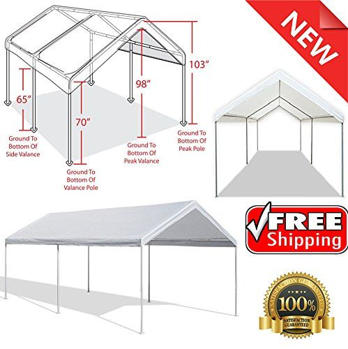 Ship from USA Outdoor Carport Garage Tent 10x20 Frame Canopy Car Shelter Portable Gazebo Cover ITEM NO8YIFW81854235380 ** Want additional info? Click on the image.