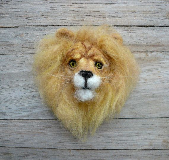 Needlefelted lion's head brooch https://www.etsy.com/listing/215736624/needlefelted-lion-head-broochanimal?ref=shop_home_active_2