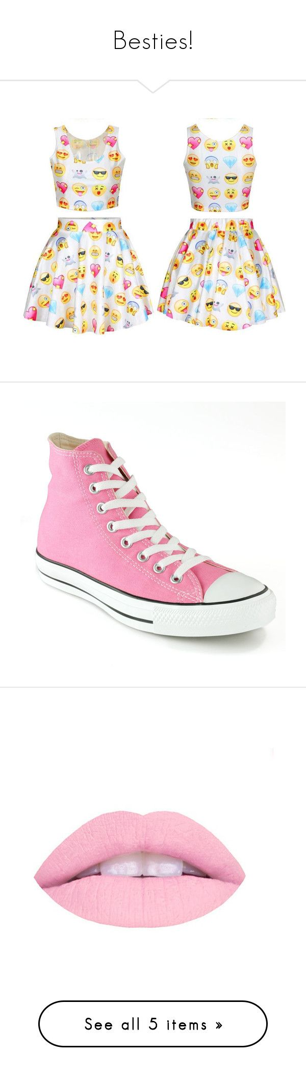 """""""Besties!"""" by janaeyoung on Polyvore featuring dresses, shoes, sneakers, pink, lace shoes, pink sneakers, pink high tops, converse high tops, lace up sneakers and beauty products"""