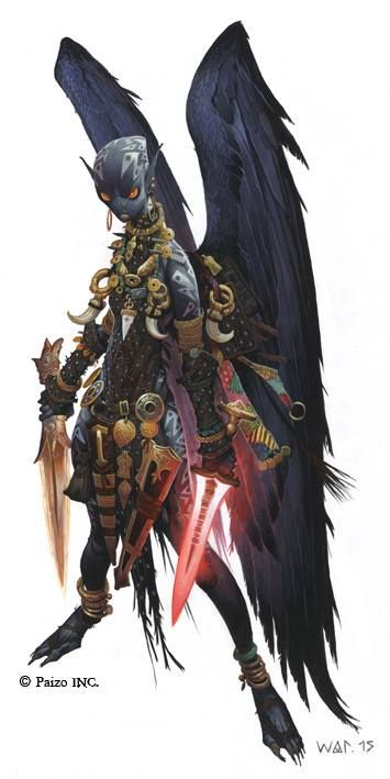 Strix Slayer from the cover art of Pathfinder RPG Adventure Path #101 - The Kintargo Contract by Wayne Reynolds