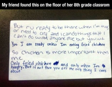 mmm fried chicken..everyone needs this escape clause..