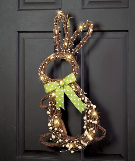Lighted Bunny Door Hanger