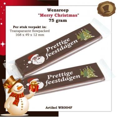 Wensreep Merry Christmas in transparante flowpack. Smaak melk of pure chocolade. Te bestellen vanaf 105 stuks. #chocolade #reep #relatie