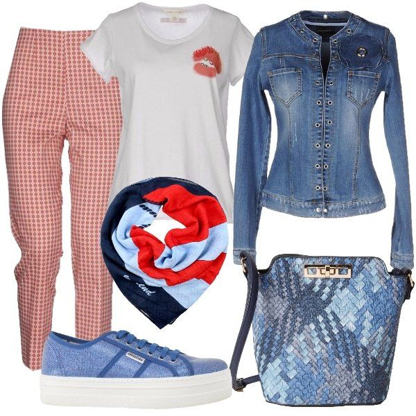 I pantaloni a fantasia floreale bianco e rossa hanno la vita alta e sono fino alla caviglia. Li abbiniamo alla t-shirt bianca con decoro di labbra glitterate e al giubbino di jeans blu lavaggio medio senza colletto, dal taglio aderente e decoro di borchie lungo la chiusura. Come scarpe sneakers in tela azzurre con para bianca molto alta e come borsa un modello secchiello in tessuto intrecciato in varie tonalità di blu e azzurro. Per completare il look foulard a fantasia blu, azzurro e rosso.