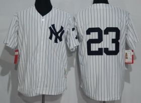 New York Yankees #23 Don Mattingly White Strips Throwback Jerseys