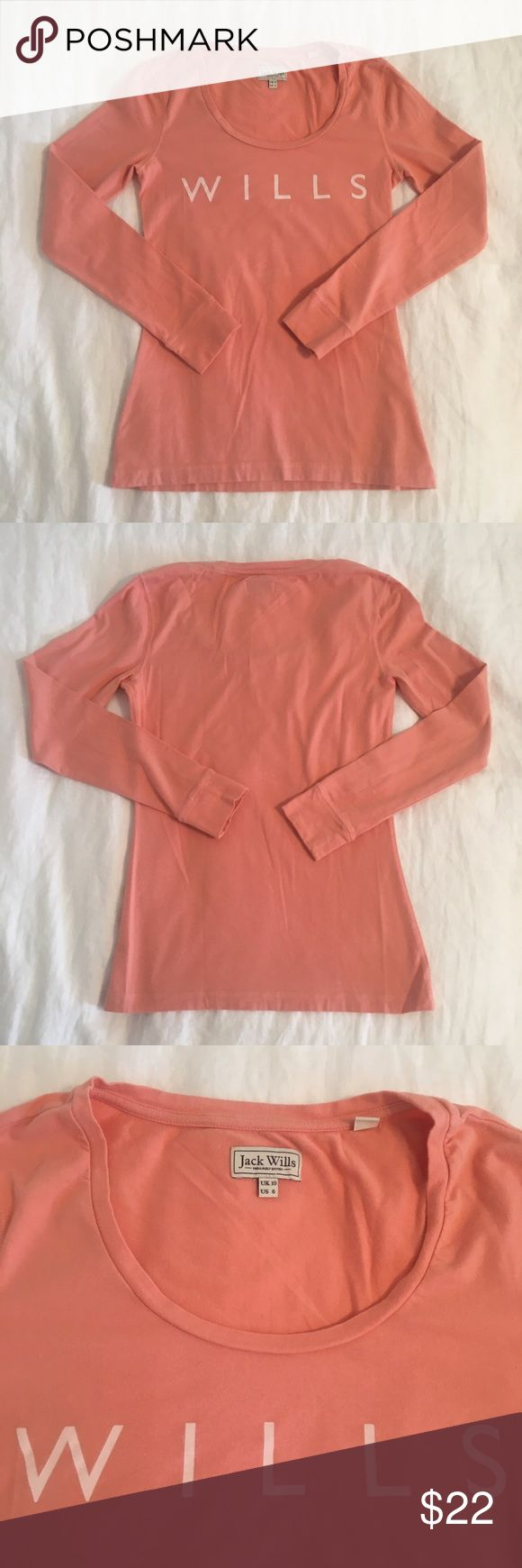 Jack Wills T-Shirt Long sleeved t-shirt from Jack Wills. Peach colored. Only worn once! Super comfortable and cute. Jack Wills Tops Tees - Long Sleeve