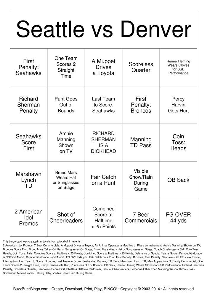 ... SHERMAN IS A DICKHEAD Bingo for your #Superbowl #football party