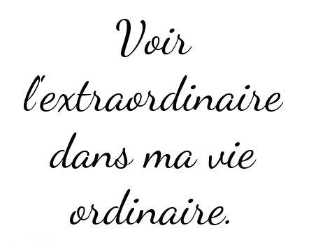 Voir l'extraordinaire dans ma vie ordinaire. ~ français citation ~