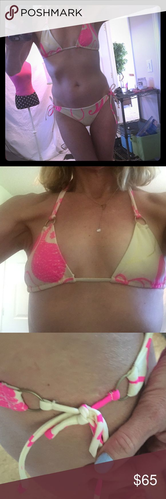 BIKINI Really cute pink and cream colored bikini. Pretty sure it's a CHIO but I cut tags out and don't remember for sure I know it was about $150 and I think it's a small possibly medium real quality made bikini excellent condition Swim Bikinis