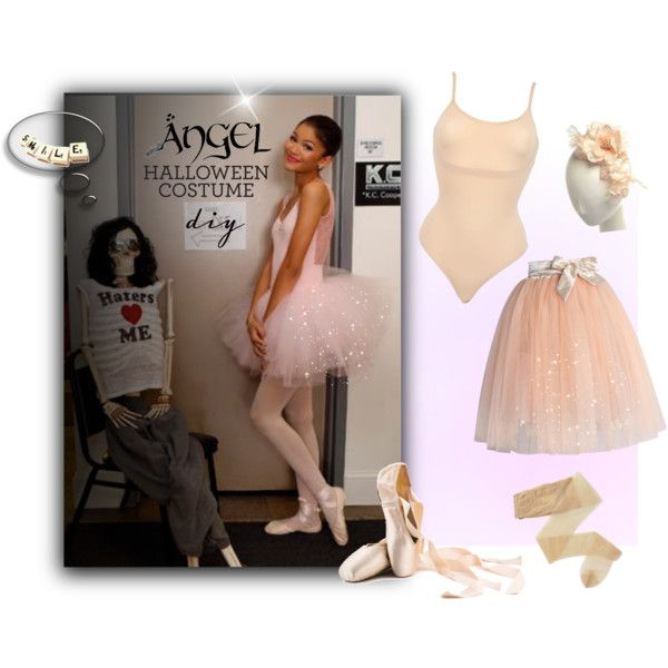 Zendaya's Ballerina Costume: Halloween by ysmn-pan on Polyvore featuring Chicwish, SPANX, Fogal, Disney, Riley, contest and diycostume