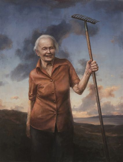 """""""Dora with an iron rake"""" painted by Billy Roy Økland"""