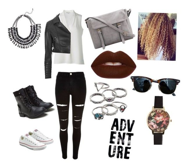 """""""Chic adventure!"""" by cozyncomfy on Polyvore featuring River Island, Glamorous, Converse, Lime Crime, Mudd, Ray-Ban and Olivia Burton"""