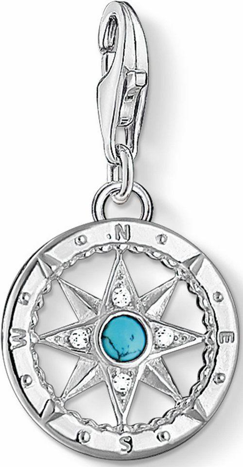 THOMAS SABO Charm-Einhänger »Kompass, 1228-405-17«, mit Zirkonia und Türkis online kaufen | OTTO