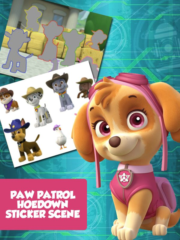Printable PAW Patrol sticker activity for kids to create a puptacular hoedown!