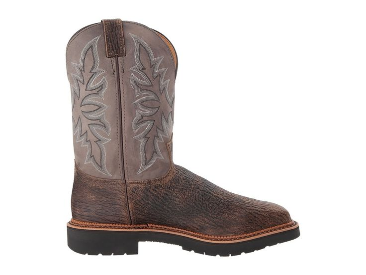Justin Scottsbluff Steel Toe Cowboy Boots Cimarron Apache/Grey