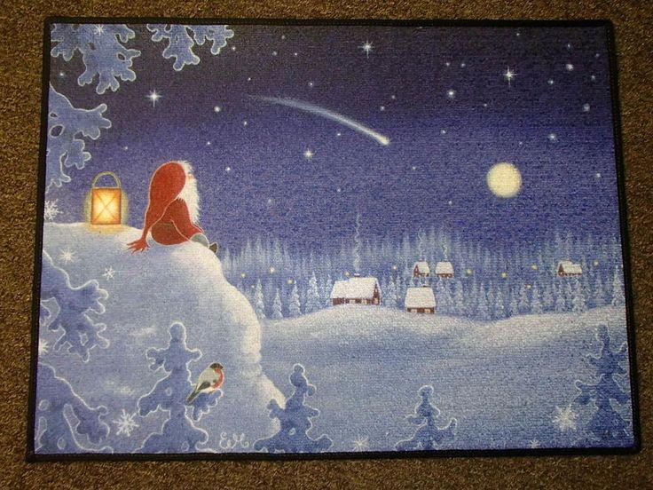 Scandinavian Swedish Gnome Tomte Watching Shooting Star Door Mat Rug #EVA21 www.giftchaletauburn.com